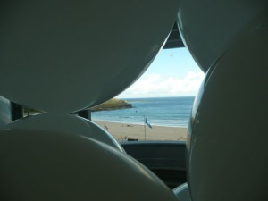 Portmeor beach through the balloons