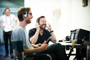 Lifes Too Short- Ricky Gervais - Stephen Merchant- production shot- S1 Ep1  2011- Copyright BBC